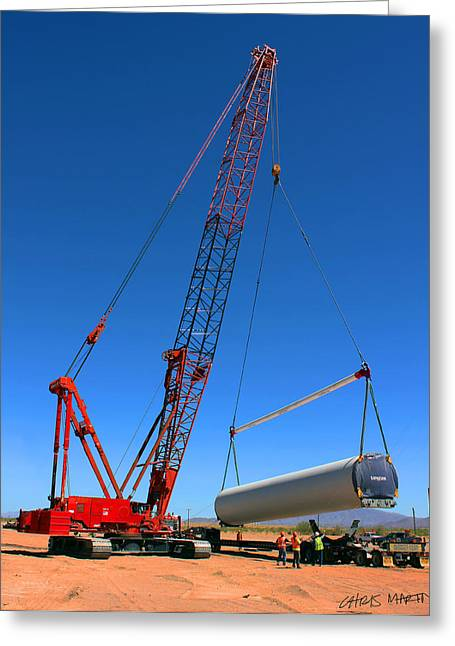 Tower Crane Greeting Cards - Lifting wind towers Greeting Card by Chris Martin