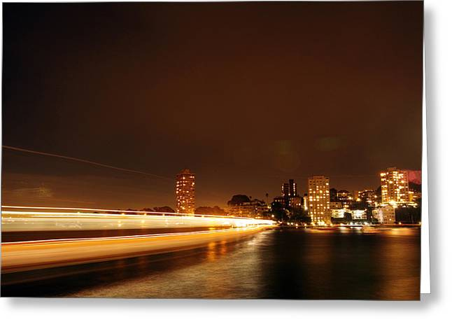 Light Across The Bay Greeting Card by Justin Woodhouse