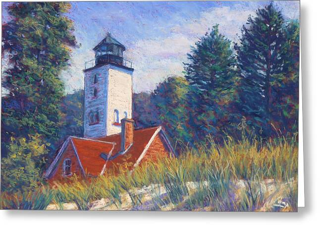 Purples Pastels Greeting Cards - Light at Presque Isle Greeting Card by Michael Camp