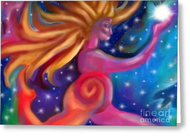 Light Bearer Greeting Card by Linda Marcille