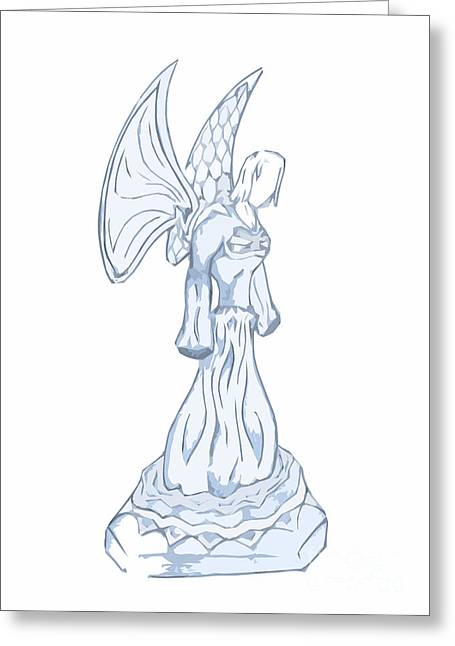 Light Blue Abstract Angel Drawing Greeting Card