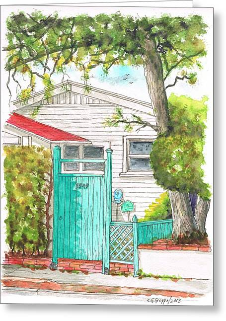 Light Blue Door In Hollywood - California Greeting Card