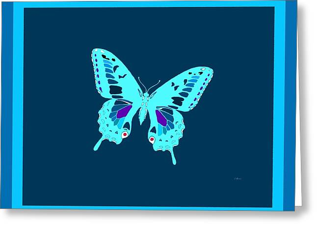 Light Blue Electric Butterfly Greeting Card by L Brown