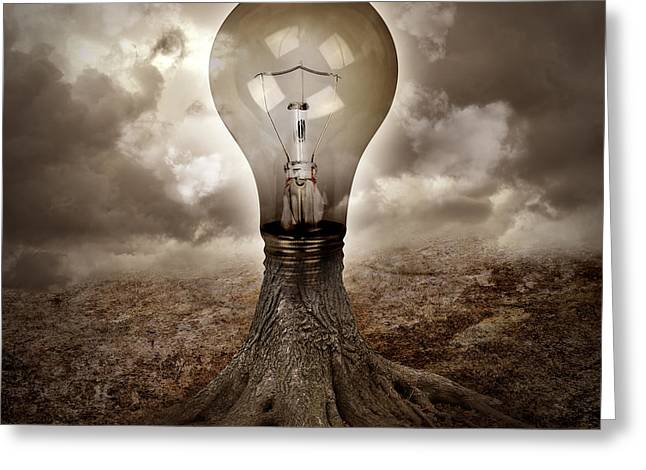 Light Bulb Growing An Idea In Nature Greeting Card by Angela Waye