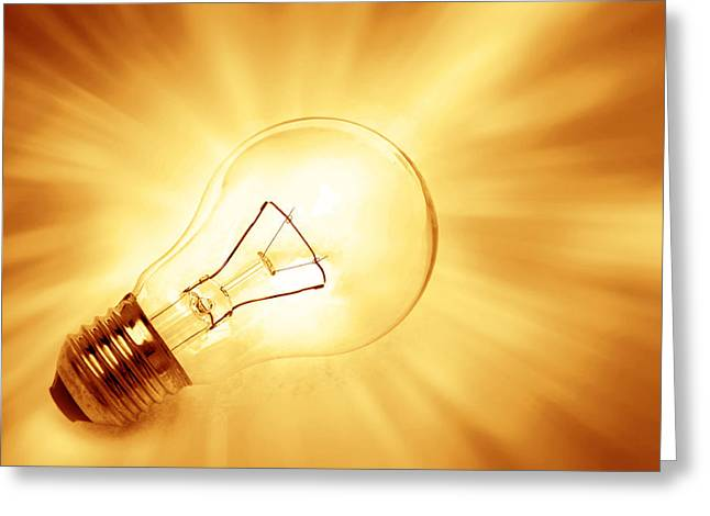 Light Bulb  Greeting Card by Les Cunliffe