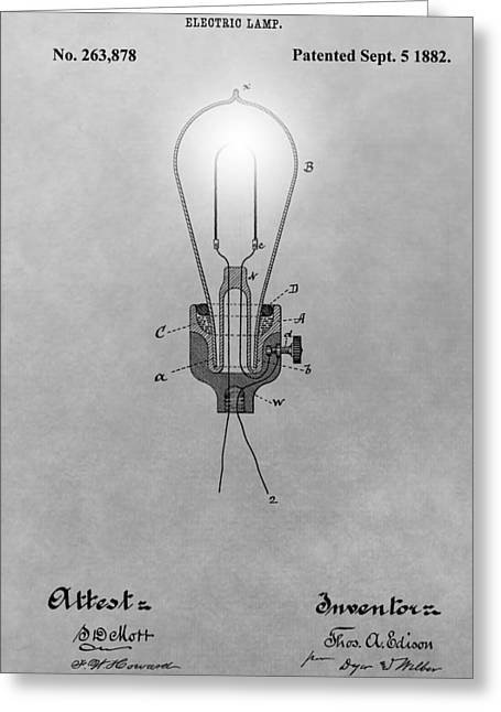 Electric Lamp Patent Greeting Card by Dan Sproul