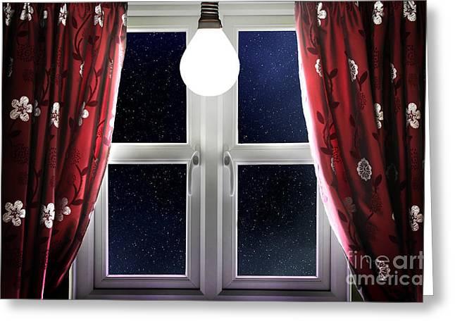 Light Bulb Shining In Window Greeting Card by Simon Bratt Photography LRPS