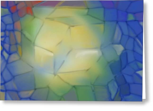 Greeting Card featuring the digital art Light Cubes Away by Constance Krejci