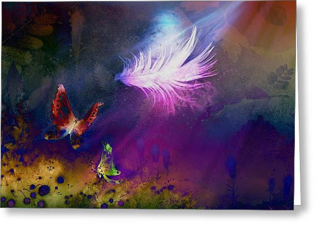 Greeting Card featuring the painting Light Feather by Lilia D