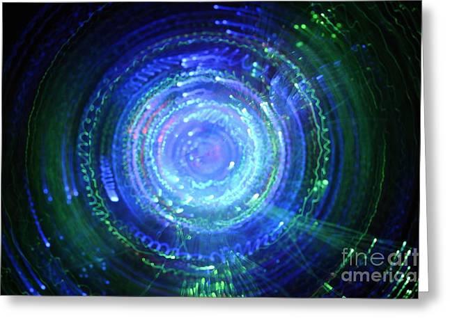 Light From Fiber Optic Swirl Greeting Card by Sami Sarkis