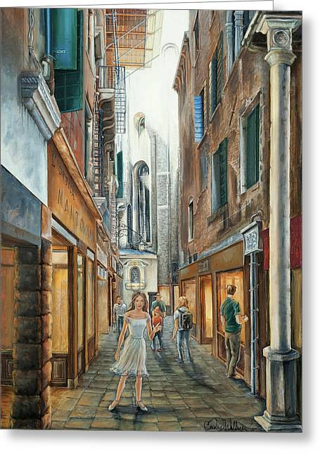 Light From San Salvador Merceria Del Capitello San Marco Venezia Greeting Card