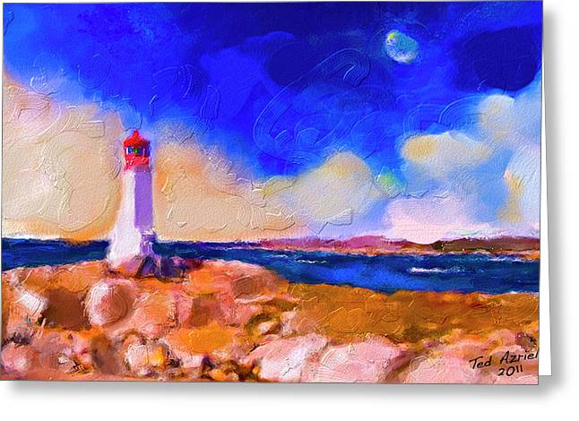Greeting Card featuring the painting Light House At Peggys Cove by Ted Azriel