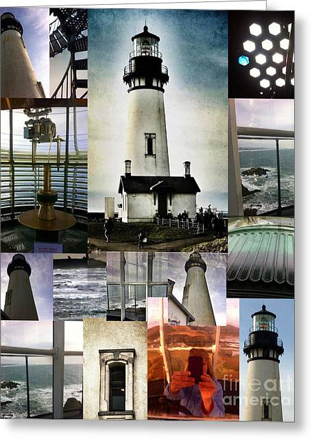 Light House Collage Greeting Card by Susan Garren