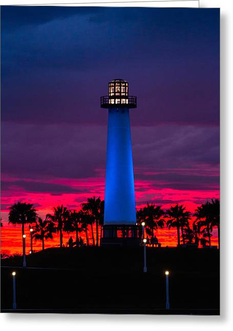 Light House In The Firey Sky Greeting Card by Denise Dube