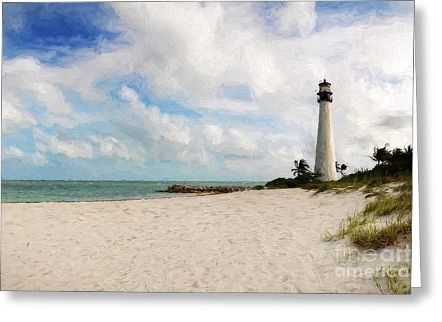 Light House On The Beach Greeting Card