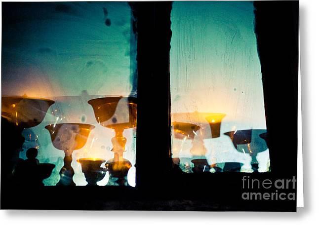 Light In Window Near  Stupa Boudhanath  Greeting Card by Raimond Klavins