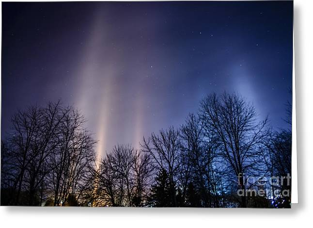 Light Pillars And Stars Greeting Card by Thomas R Fletcher