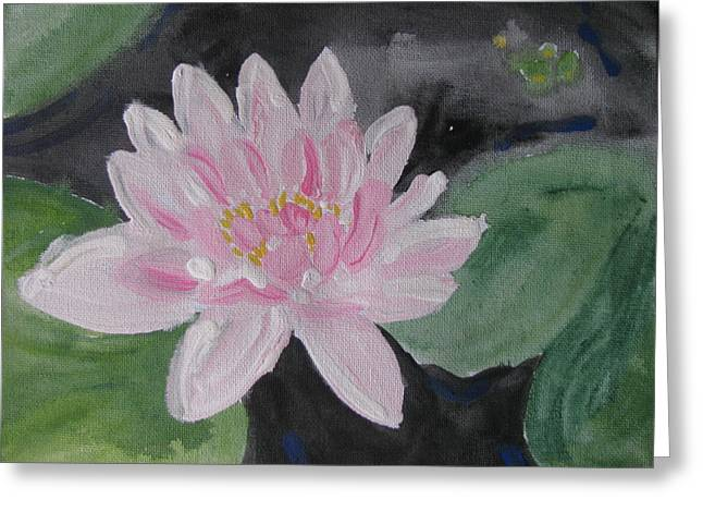 Light Pink Water Lily Greeting Card by Vikram Singh
