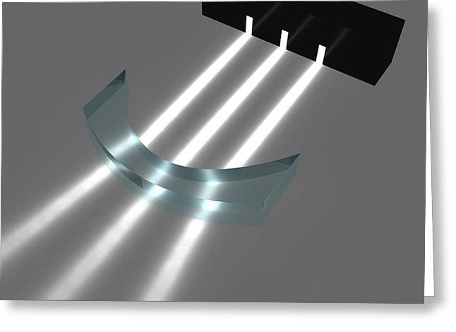 Light Refraction With Concave-convex Lens Greeting Card