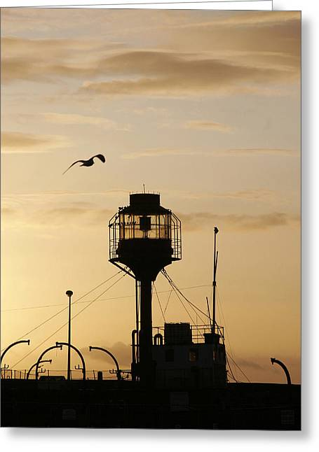 Light Ship Silhouette At Sunset Greeting Card