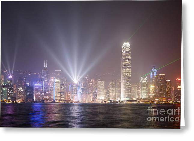 Light Show In Hong Kong Greeting Card by Matteo Colombo