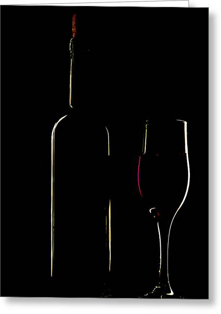 Light Silhouette Of Bottle And Wineglass Greeting Card by Roman Popov