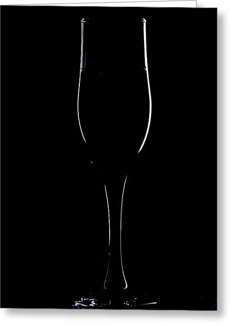 Light Silhouette Of Wineglass Greeting Card by Roman Popov