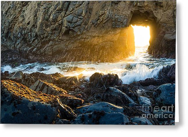 Light The Way - Arch Rock In Pfeiffer Beach In Big Sur. Greeting Card by Jamie Pham