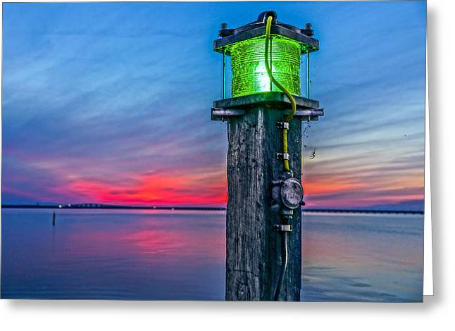 Light Tower In Evening Gloom Greeting Card by Alex Weinstein