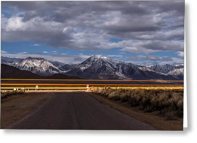 Light Trails Greeting Card by Cat Connor