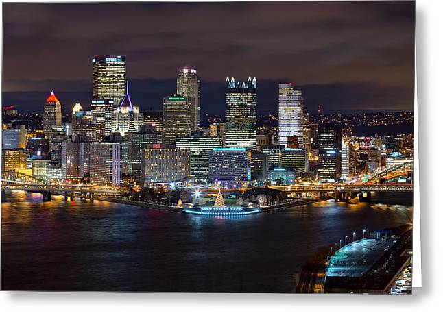 Light Up Night Pittsburgh 3 Greeting Card by Emmanuel Panagiotakis