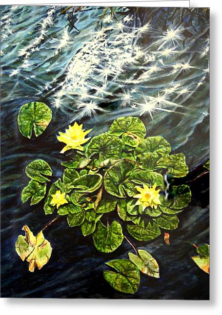 Light Wind And Waterlilies Greeting Card