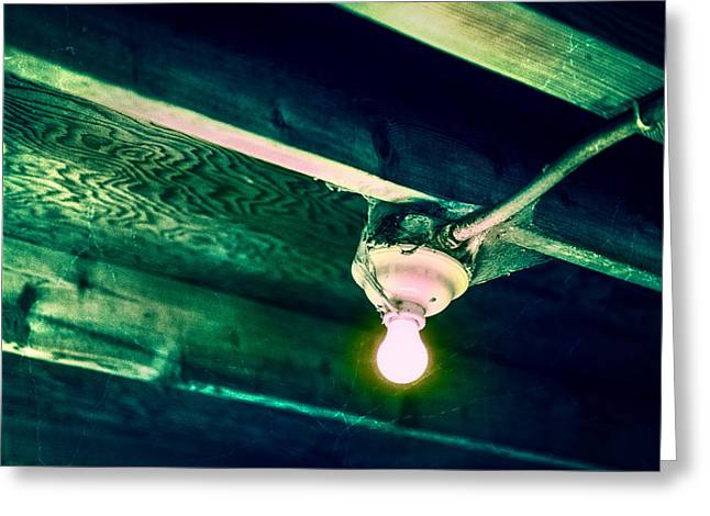 Lightbulb And Cobwebs Greeting Card by YoPedro