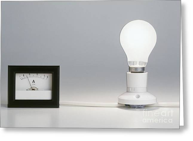 Lightbulb Attached To Ammeter Greeting Card