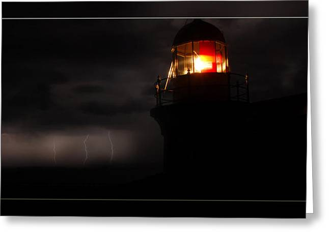 Lighted Lighthouse Greeting Card by Andrew Prince