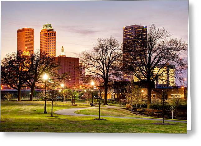 Lighted Walkway To The Tulsa Oklahoma Skyline Greeting Card