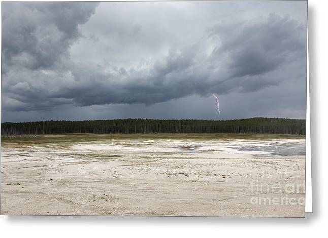 Greeting Card featuring the photograph Lightening At Yellowstone by Belinda Greb