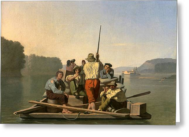 Lighter Relieving A Steamboat Aground Greeting Card by George Caleb Bingham