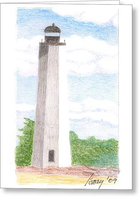 Greeting Card featuring the drawing Lighthouse 1 by Rod Ismay