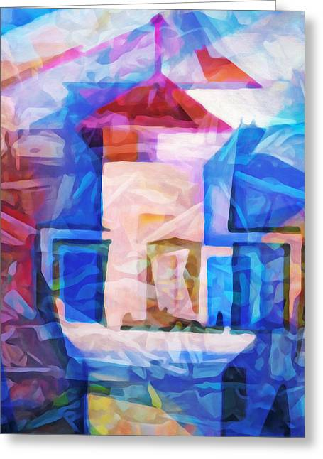 Lighthouse Abstraction Greeting Card by Lutz Baar