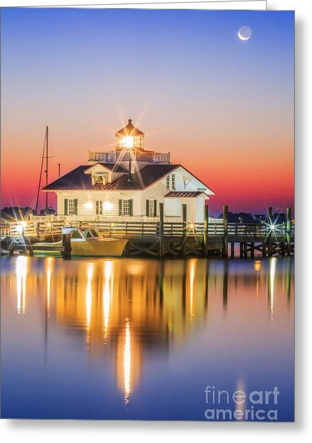 Lighthouse And Moon Greeting Card