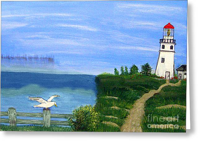 Lighthouse And Seagull 2 Greeting Card