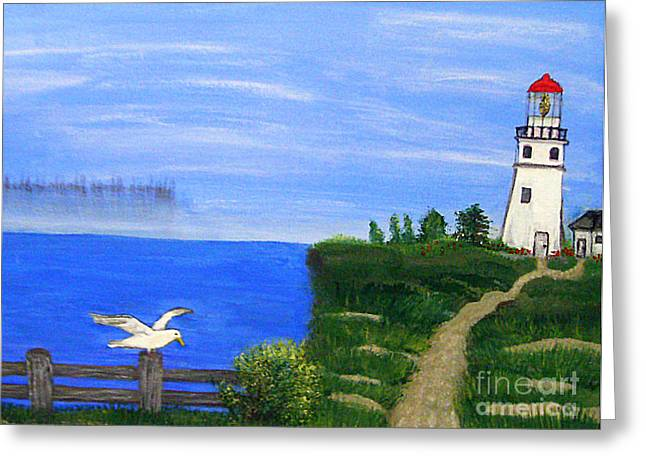 Lighthouse And Seagull  Greeting Card by Mindy Bench