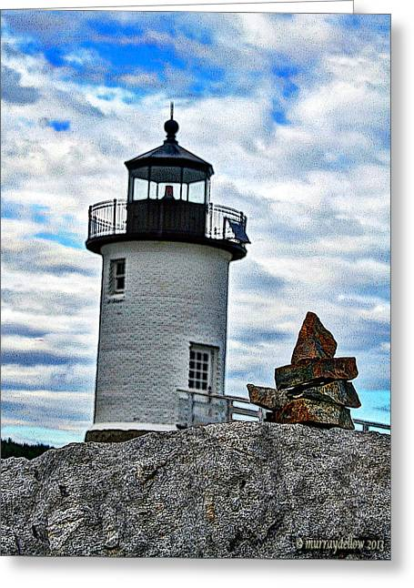 Lighthouse And The Cairn Greeting Card