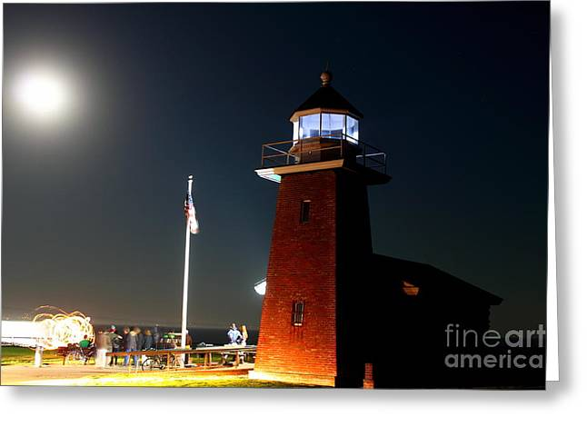 Greeting Card featuring the photograph Lighthouse And The Full Moon by Theresa Ramos-DuVon