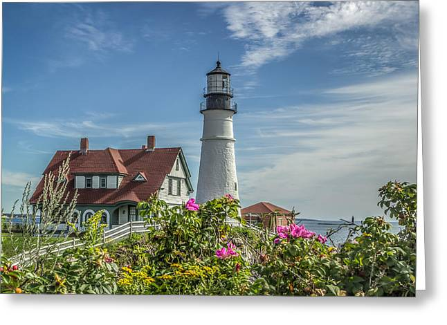 Lighthouse And Wild Roses Greeting Card