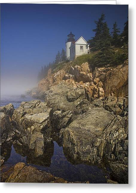 Lighthouse At Bass Harbor Maine Greeting Card by Randall Nyhof