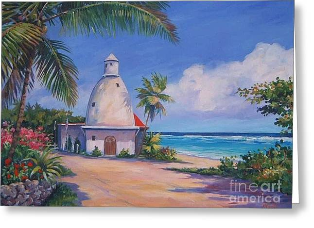 Lighthouse At Breakers Greeting Card by John Clark