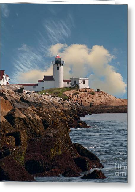 Lighthouse At Cape Ann's Harbor Greeting Card