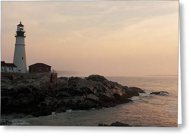 Lighthouse At Coast, Portland Head Greeting Card by Panoramic Images